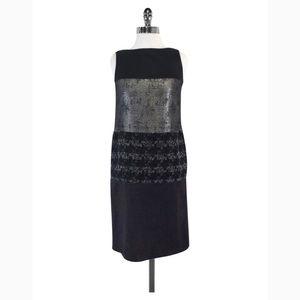 Tory Burch Metallic Panel Gray Black Dress Sz 10